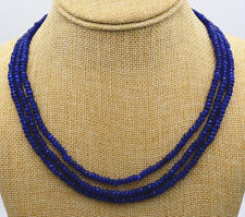 NATURAL 3 Rows 2X4mm FACETED DARK Blue Sapphire BEADS NECKLACE JN929
