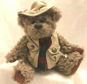 """Vintage Brass Button Collectible Pickford TANNER Bear of Health Plush 11"""" 1997"""