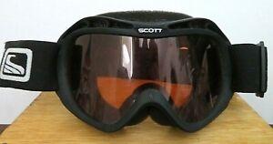 "SCOTT Ski Snowboard GOGGLES Unisex Black Adjustable Amber Lens Youth 7"" Wide GUC"