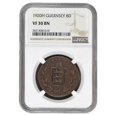 Guernsey 8 Doubles 1920 H Bronze NGC VF 30 BN (Brown) KM# 14