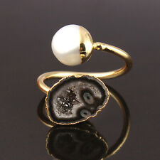 Unique Black Geode Druzy Mother Of Pearl Yellow Gold Plated Adjustable Ring