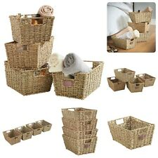 4x Stackable Storage Baskets with Handles Multipurpose Basket Natural Woven New