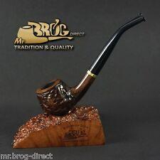 Mr.Brog original SMALL smoking pipe nr.29 brown carved - bent stem * CARO *