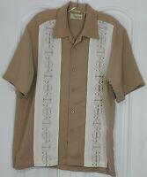 Cubavera Mens Medium Beige/White Short Sleeve Button Front Shirt Rayon/Polyester