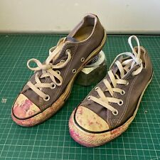 Distressed Converse All Stars PINK PAINT STAINS In Navy Blue Denim UK 4 EUR 36.5