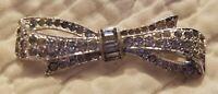 Vintage Trifari Silver Tone Rhinestone Crystal Bow 1 3/4 by 1/2 Inch Brooch Pin