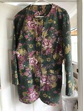 Green Floral Ladies Cotton Jacket - Size 12 UK