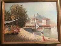 """Lovely Hancock Impressionist Oil Painting """"Ladies By River Scene"""" -Signed/Framed"""