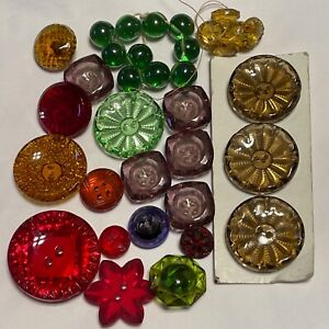 Vintage Buttons Depression Glass Clear Colors 34 Buttons total Green Red Gold