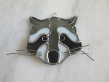 """Stained Glass Raccoon  Window Wall hanging Suncatcher ornament 4"""""""