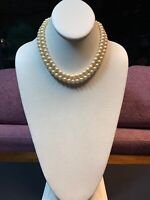 1950S Cream Beaded Two Strand Glass Pearl Necklace Rhinestone Baguette Clasp