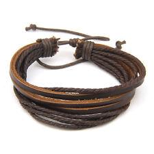 Women/Men Surfer Tribal Wrap Multilayer Genuine Leather Cuff Bracelet Fashion