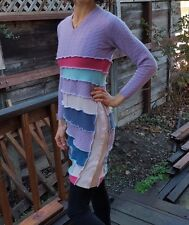 Purple Handmade Upcycled 100% Cashmere Sweater Dress Tunic Wearable Art OOAK S