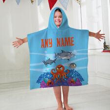 Kids Personalised Hooded Towel Poncho Sea Animals Childrens Bathrobe Swim