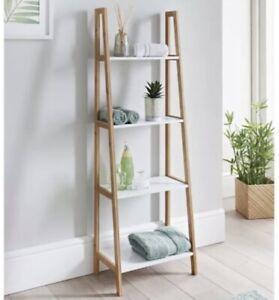 Retreat 4 Tier Ladder Shelf Wood White Modern Bathroom Living Room Hallway