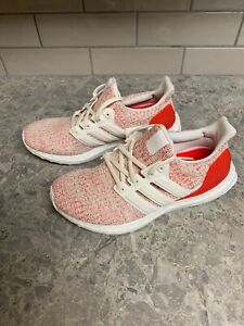 Womens Adidas Ultra Boost 4.0 Running Shoes White / Action Red Sz 6.5 DB3209