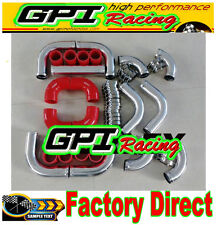 "2.5"" 64mm Aluminum Universal Intercooler Turbo Piping pipe Kit & red hose kits"