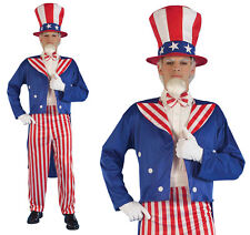 Mens Uncle Sam Fancy Dress Costume July 4Th Patriotic American Outfit Usa
