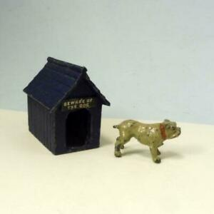 """Vintage Lead BULLDOG + KENNEL """"BEWARE OF THE DOG"""" SIGN by Johillco  Britains Era"""