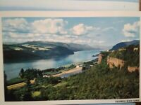 VINTAGE POST CARD AERIAL VIEW OVER THE COLUMBIA RIVER GORGE WASHINGTON