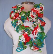 """New Hand Crochet Bright Colors Orange Blue Green Twisted Ruffled Scarf 46"""" Long"""