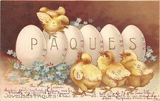 BG9071 paques chick embossed egg flower  ostern easter greetings france