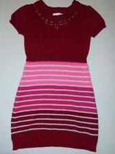 justice girls sweater dress size 8 red pink stripes short sleeve school