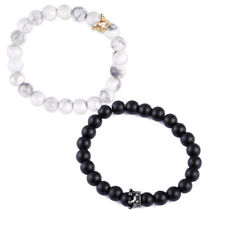 2X Liebespaar Armband Weiß Schwarz  Achat Krone Howlith Perlen Armband Armkette