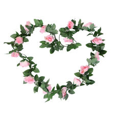 2.3M Artificial Silk Pink Rose Flower Ivy Vine Hanging Garland Party Home Decor