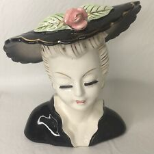 Vintage Lady Head Vase Black Hat Flower Gold Trim Glamour Girl Ceramic