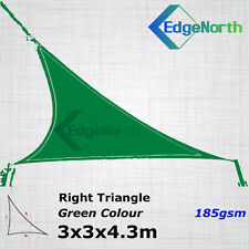 Heavy Duty Right Triangle Shade Sail Outdoor Sun Canopy Awning - Green 3x3x4.3m