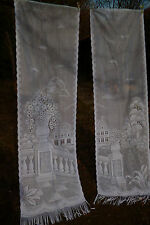 "Pair of Long White Vintage French Doors Net Curtains 23"" w x 80""  59  x 203 cm"