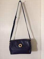 Authentic CELINE Cross Body Shoulder Bag Purse Leather Purple Blue Gold Logo #2