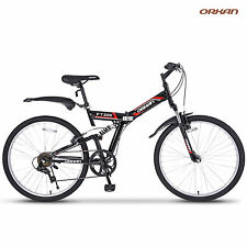"26"" Folding 7 Speed Mountain Bike Bicycle Shimano Hybrid Suspension Sport Black"