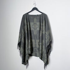 Lauren Ralph Lauren Southern Aztec Poncho Green Wool Fringe Southwestern