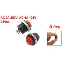 5 x Momentary SPST NO rote runde Kappe Druckschalter AC 6A/125V 3A/250V R6L6