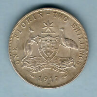 Australia.   1917 Florin..  Much Lustre, 8 Pearls..  EF