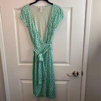 Diane Von Furstenburg Womens Wrap Dress Green Geometric Cap Sleeve 100% Silk M 8