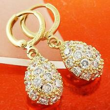 DROP EARRINGS 18K YELLOW G/F GOLD DIAMOND SIMULATED TEARDROP DESIGN FS3AN993