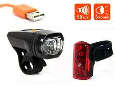Fahrrad USB Akku Beleuchtungsset AXA Greenline 50 Lux LED Scheinwerfer Rücklicht