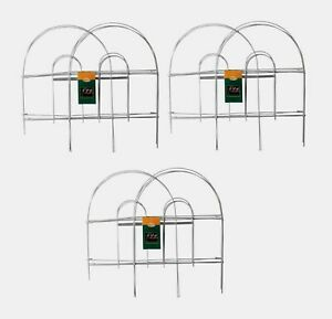 """3 Panacea WHITE GARDEN FENCE Folding Wire Double Arch Walkway Bed Edging 8' x18"""""""