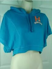 Hollister Crop Top Hoodie Short Sleeve Blue Sweatshirt Women's Junior pull over