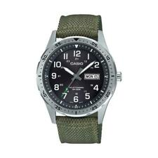 Casio MTP-S120L-3AV, Men's Watch, Green Nylon, Black Dial, Date, Solar Battery