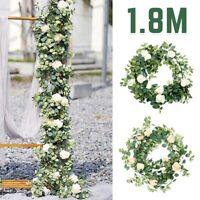 2M Tinsel Garland Artificial Silk Flowers Ivy Vine Hanging Garland Xmas Decor UK