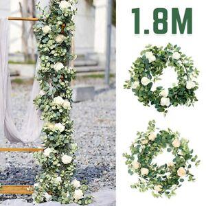 1.8M Artificial Eucalyptus Garland Hanging Flower Plant Fake Ivy Vine Rose Decor