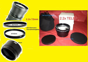 2.2x TELEPHOTO LENS 72mm+ADAPTER for NIKON L820 L 820+UV 62mm+62/72 mm COOLPIX