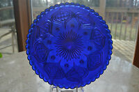 "Flint Cobalt Blue Glass 8 Footed Deep Plate Intricate Design 8.75""X 1.25"""
