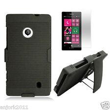 Nokia Lumia 521 Hard Shell Case Cover+Holser w/Swivel Kickstand+Screen Protector