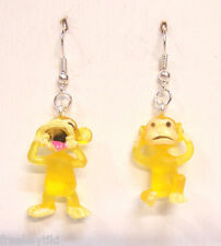 "NEW YELLOW Mini Funny Silly Goofy Cute Monkeys Apes Toys 1"" Dangle Earrings"