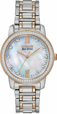 CITIZEN WOMENS $295 ECO-DRIVE DAZZLING CRYSTALS BIG TWO-TONE WATCH EM0116-55D